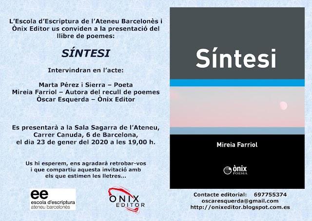 Presentació del darrer llibre de Mireia Farriol, a l'Ateneu Barcelonès el 23 de gener