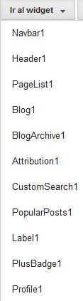 Widgets existentes en la plantilla del blog