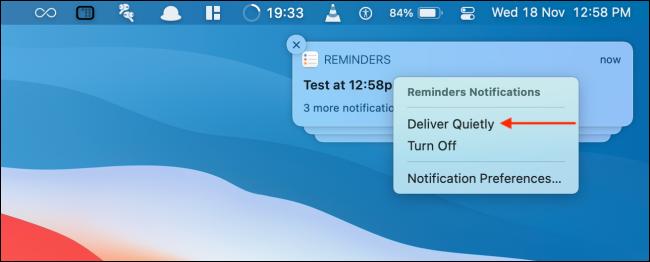 انقر فوق Deliver Quietly from Notification