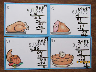 Thanksgiving Long Division Task Cards
