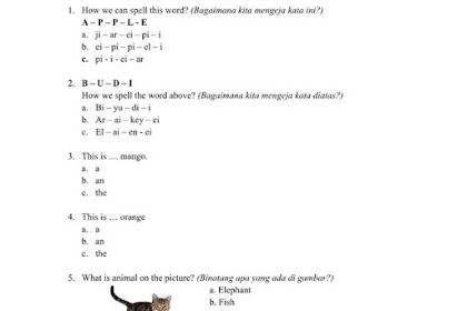 Soal UTS Bahasa Inggris Kelas 1 Kurikulum 2013
