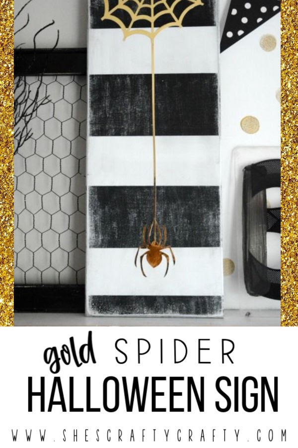 DIY Gold Spider Halloween Sign