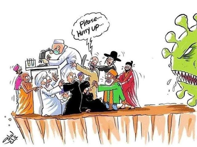 كاريكاتير كورونا الاديان