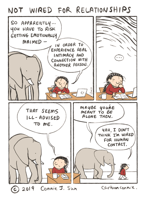 comic strip, comics, humor, illustration, elephant drawing, journal comics, connie sun, cartoonconnie