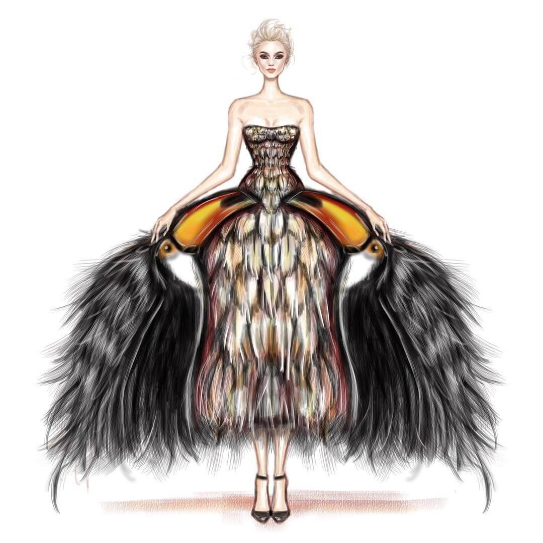 04-Toucan-Gown-Shamekh-Bluwi-Haute-Couture-Exquisite-Fashion-Drawings-www-designstack-co