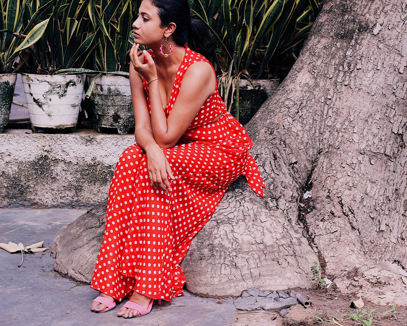 hottest colour combo, freshest print of the season, indian blog, indian blogger, top indian blog, indian luxury blog, uk blog, british blog, london blog, delhi blogger, delhi travel blogger, indian travel blog, 70s style, retro outfit, london street style, polka dots, red polka dot dress, boohoo bloggerxdotm, boohoo blogger x dress of the month, red and pink, how to wear red and pink, red and pink outfit idea, style a maxi, style polka dots, fresh summer outfit idea, how to wear red,