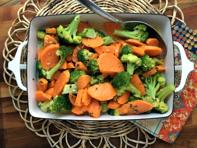 Marinated sweet potatoes and broccoli