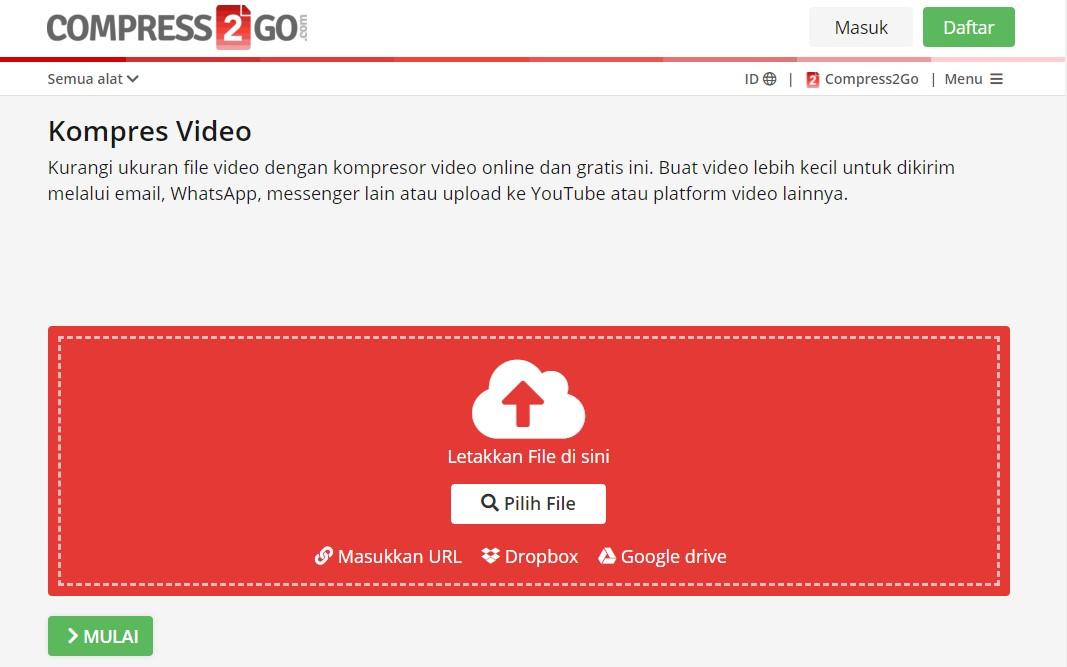Pilih File Video yang Akan Dikompress Menggunakan Compress2Go