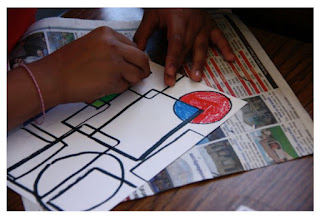 Child drawing of shape and Mondrian