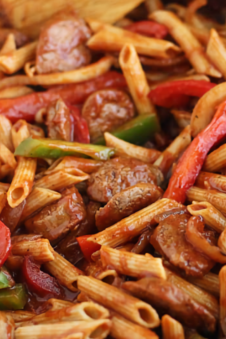 Skillet Italian Sausage and Peppers with Whole-Wheat Penne