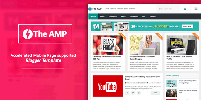 The AMP High Quality and AMP Supported Blogger Template Nulled
