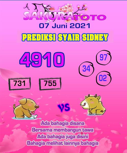 Syair Sakuratoto Sidney Senin 07 Juni 2021