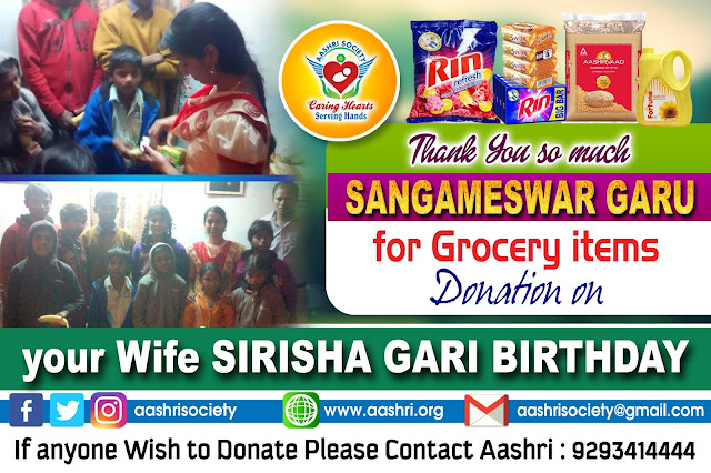 aashri society grocery donation to Poor Kids with Sangameswar garu