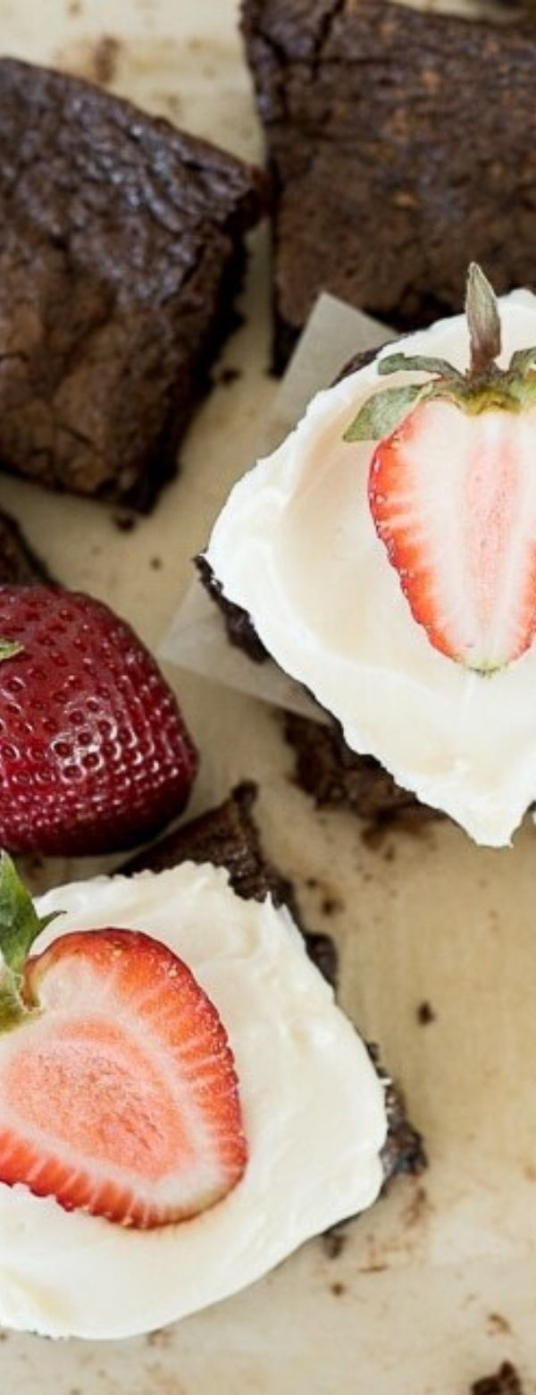 Cheesecake Brownies with Strawberries
