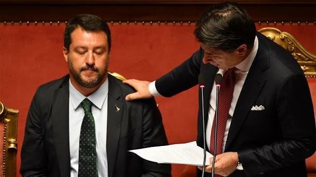 Italian Prime Minister Giuseppe Conte announces resignation, blames Deputy Prime Minister and Interior Minister Matteo Salvini for woes