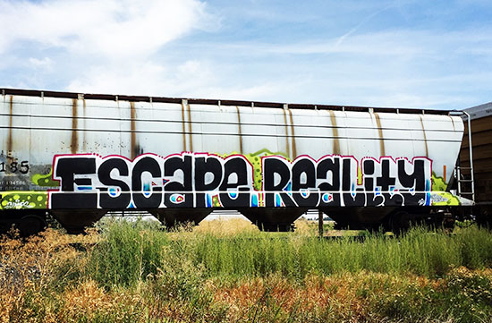 "Graffiti in the shape of the words ""Escape Reality"" spray painted on the side of a train car with grassy weeds in the foreground and white clouds streaking across the blue sky."