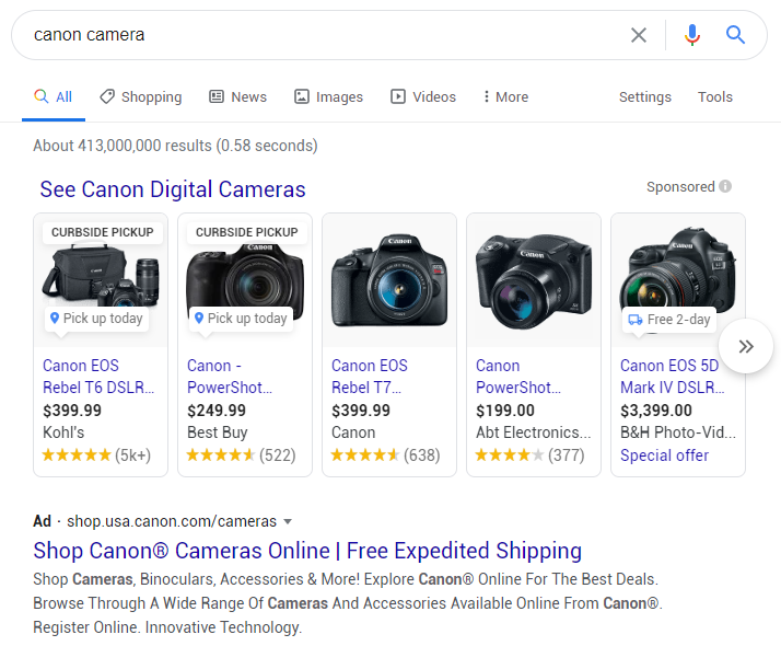 Example of a Google Shopping Ad for Canon cameras