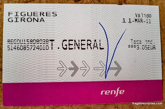 Passagem de trem para Girona, Espanha