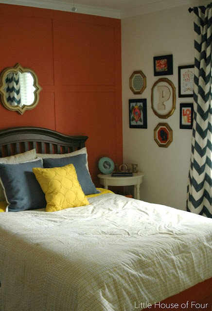 Navy, coral and yellow little girls room