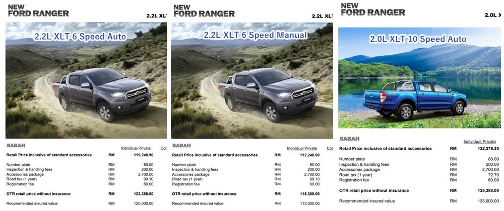 harga ford ranger xlt sabah