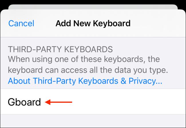 اختر لوحة المفاتيح التي تريد إضافتها