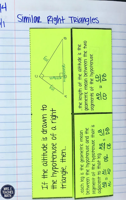 Similar Right Triangles Foldable