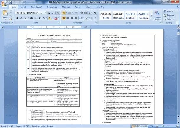 Perangkat Pembelajaran SKI (Sejarah Kebudayaan Islam) SMA MA Kelas 11 K13 Revisi Terbaru