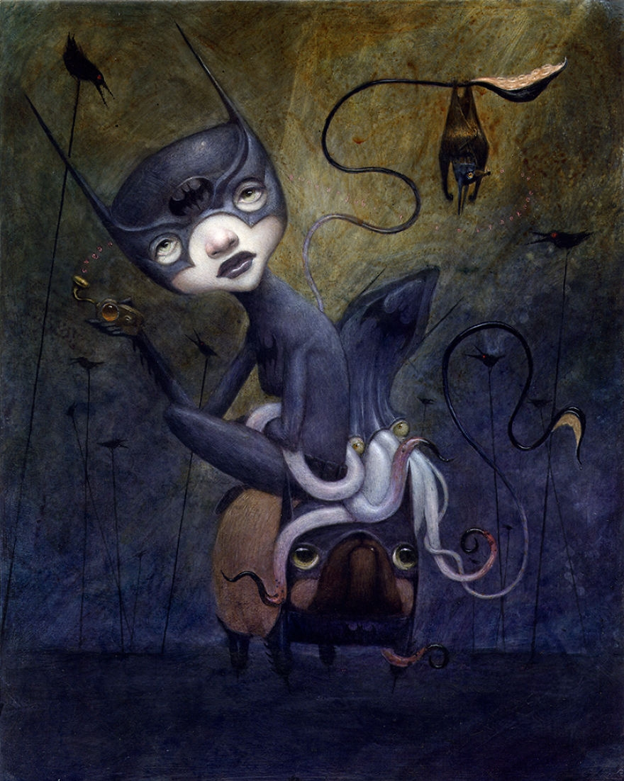 06-Batgirl-And-Batsquid-Ride-Batpug-Bill-Carman-Surreal-Art-that-Speaks-to-the-Artist-as-he-Paints-www-designstack-co