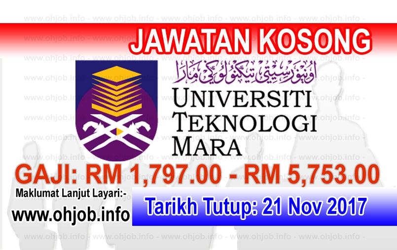 Jawatan Kerja Kosong UiTM - Universiti Teknologi MARA logo www.ohjob.info november 2017
