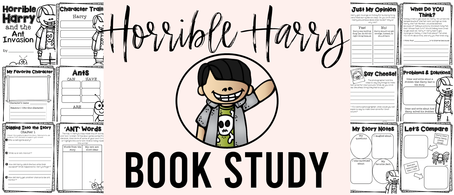 Our class LOVES Horrible Harry! Here are some fun Horrible Harry book study companion activities to go with the books by Suzy Kline. Perfect for whole class guided reading, small groups, or individual study packs. Packed with lots of fun literacy ideas and guided reading activities. Common Core aligned. Grades 1-2 #bookstudies #bookstudy #novelstudy #1stgrade #2ndgrade #literacy #guidedreading #horribleharry