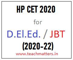 image : HP JBT CET 2020 D.El.Ed. 2020-22 @ TeachMatters