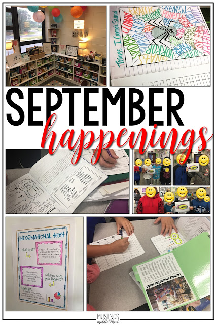 See what we've been up to in my ELA middle school classroom during the month of September!