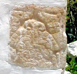 Piedra tallada Iglesia Chablekal