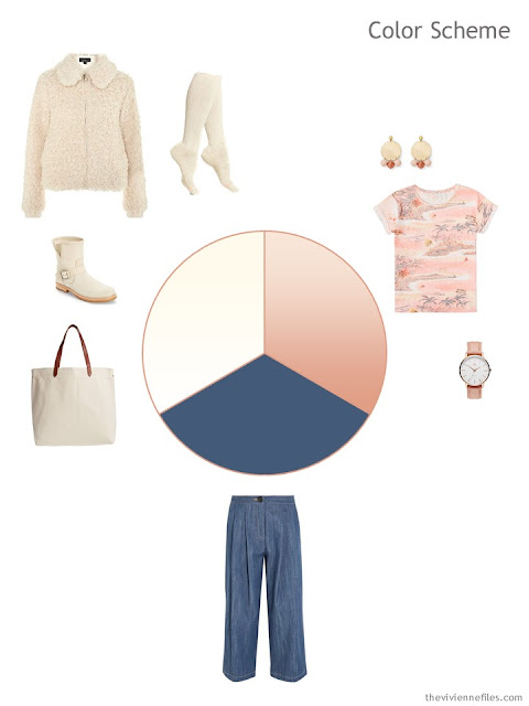 travel outfit in ivory, peach and denim broken out into a color scheme