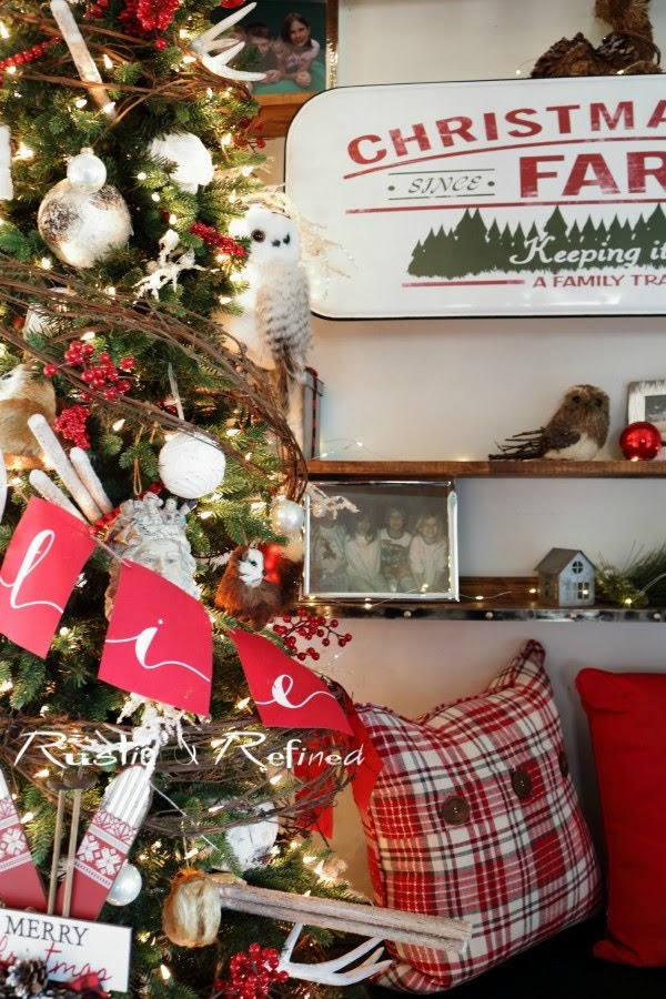 Decorating the Entry / Foyer with rustic elements and gorgeous pops of red for the Holiday season.