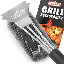GRILLART Grill Brush With Scraper And 3 in 1 18-Inch Stainless Steel Wire Bristles