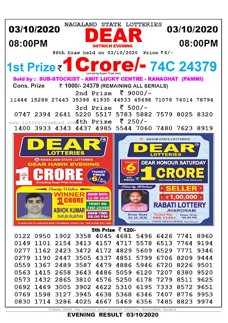 Lottery Sambad Result 03.09.2020 Dear Ostrich Evening 8:00 pm