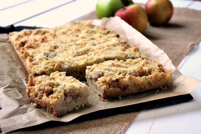 Apple Crumble Bars in baking tin