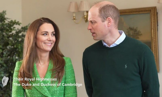 Kate Middleton wore a double breasted textured weave jacket from Zara, and gold mini cupid hoops and necklace by Daniella Draper