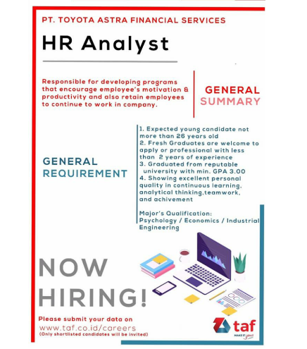 HR Analyst PT Toyota Astra Financial Services