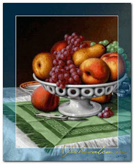 "Download cross stitch scheme PRE006 ""Still Life with Fruit and Pocket Knift"" Scarlet Quince"
