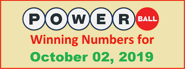 PowerBall Winning Numbers for Wednesday, October 02, 2019