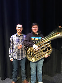 Matthew Dao, trumpet and Cameron Cawley, tuba from Franklin High School