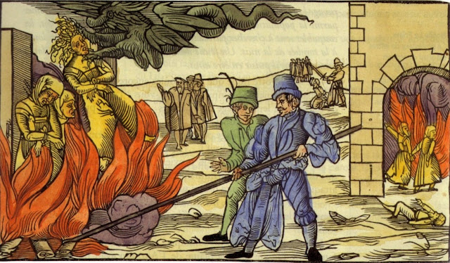 Ilustração de mulheres sendo queimadas na fogueira durante a inquisição