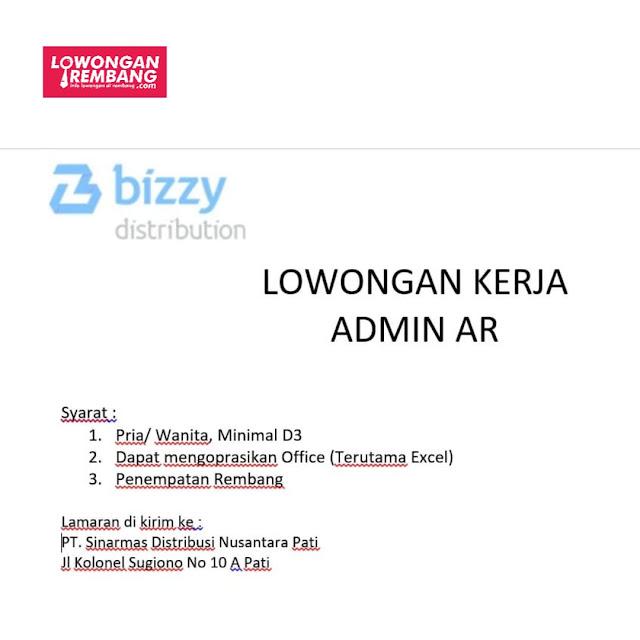 Lowongan Kerja Admin AR Bizzy Distribution Rembang