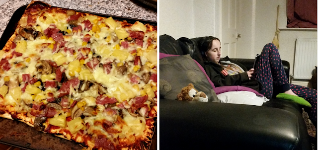 Homemade pizza and my teen sat on the sofa.