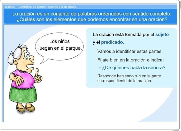 """""""La oración: el sujeto y el predicado"""" (Aplicación interactiva de Lengua Española de Primaria)"""