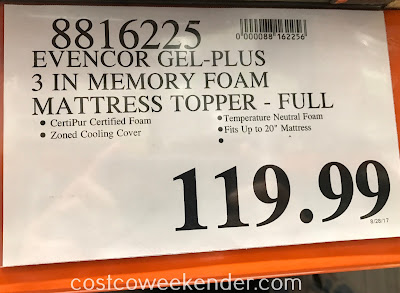 Deal for the Novaform EVENcor GelPlus Memory Foam Mattress Topper (Full size) at Costco