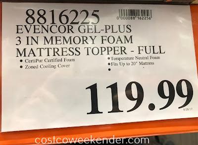 Deal for the Novaform EVENcor GelPlus Memory Foam Mattress Topper (Full size) at Costco