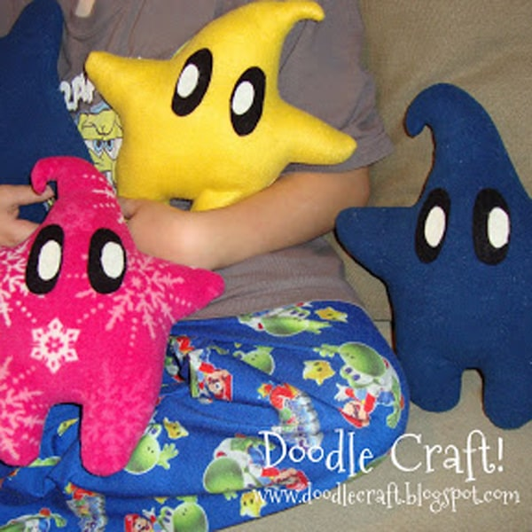 Make plushie Luma pillows from the video game Super Mario Galaxy, Mario Brothers star buddy.